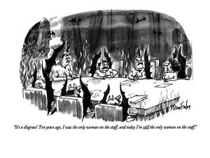 """It's a disgrace! Ten years ago, I was the only woman on the staff, and to?"" - New Yorker Cartoon by Dana Fradon"