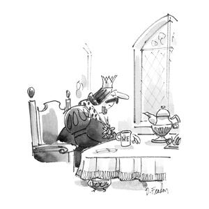 """King at breakfast cable, his coffee cup marked """"We."""" - New Yorker Cartoon by Dana Fradon"""