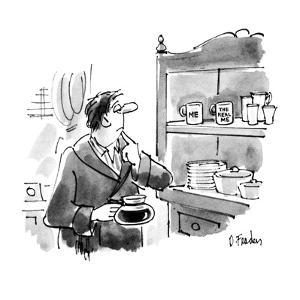 "Man choosing mugs, one saying ""Me"" or ""The real me"". - New Yorker Cartoon by Dana Fradon"