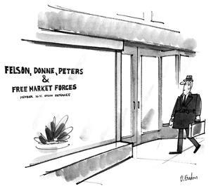 Man walks by an an office that has a sign in the window that reads 'Felson… - New Yorker Cartoon by Dana Fradon