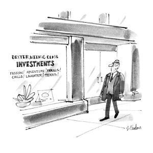 Mans walks by a store that has a sign in the window that reads 'Dexter, We? - New Yorker Cartoon by Dana Fradon