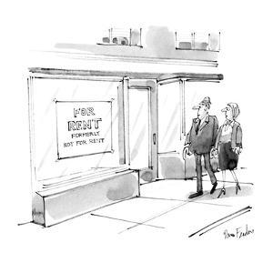 """Store front has sign """"For Sale, Formerly Not For Sale"""". - New Yorker Cartoon by Dana Fradon"""