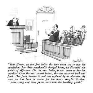 """""""Your Honor, on the first ballot the jury voted ten to two for conviction.?"""" - New Yorker Cartoon by Dana Fradon"""