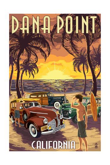 Dana Point, California - Woodies on the Beach-Lantern Press-Art Print