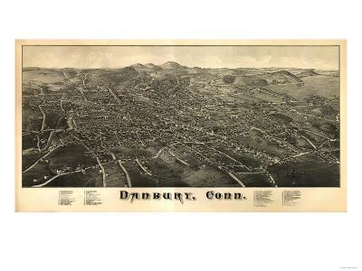 Danbury, Connecticut - Panoramic Map-Lantern Press-Art Print