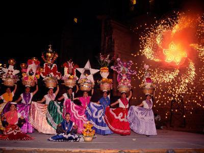 Dance and Fireworks called Bani Stui Gulal Tells the Story of the Guelaguetza, Oaxaca, Mexico-Igal Judisman-Photographic Print