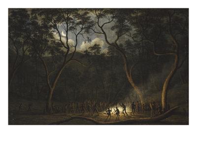 Dance of the Natives of Van Diemen's Land, Moonlight-John Glover-Giclee Print