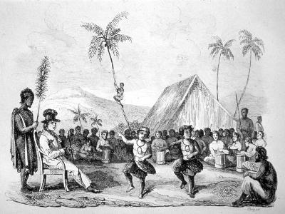 Dance of the Two Children, Hawaii, 19th Century-Ellis -Giclee Print