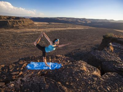 Dancer Pose During an Evening Outdoor Yoga Session at the Frenchman-Coulee in Central Washington.-Ben Herndon-Photographic Print