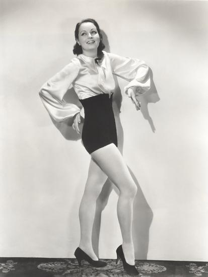 Dancer Posing in High-Waisted Shorts and Silk Blouse--Photo
