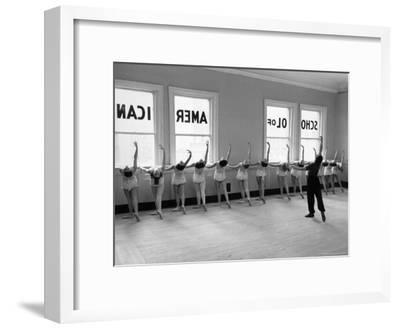 Dancers at George Balanchine's School of American Ballet Lined Up at Barre During Training-Alfred Eisenstaedt-Framed Premium Photographic Print
