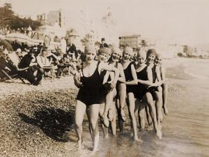Dancers from the 'Jackson Girls' Revue on the Beach in Cannes, 1925