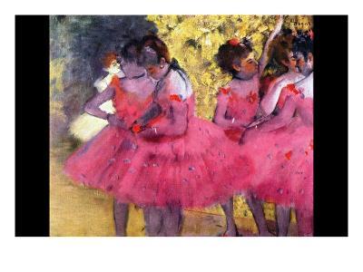 Dancers in Pink Between the Scenes-Edgar Degas-Art Print