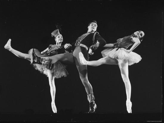 """Dancers Jacques D'Amboise and Suki Schorr in NYC Ballet Production of """"Stars and Stripes""""-Gjon Mili-Premium Photographic Print"""