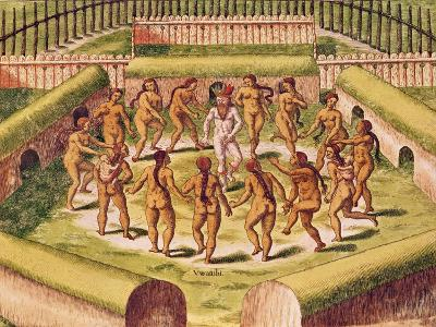Dancing around a Captive before the Hut Containing the Tamerkas or Idols-Theodore de Bry-Giclee Print