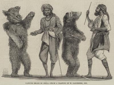 Dancing Bears in India-William Carpenter-Giclee Print