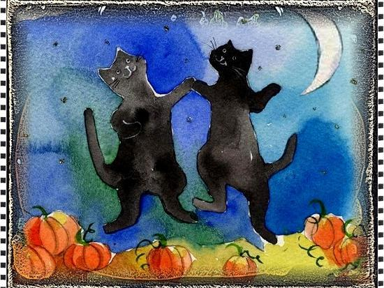 Dancing Black Cats Halloween-sylvia pimental-Art Print