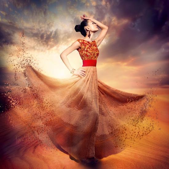 Dancing Fashion Woman Wearing Blowing Long Chiffon Dress-Subbotina Anna-Art Print