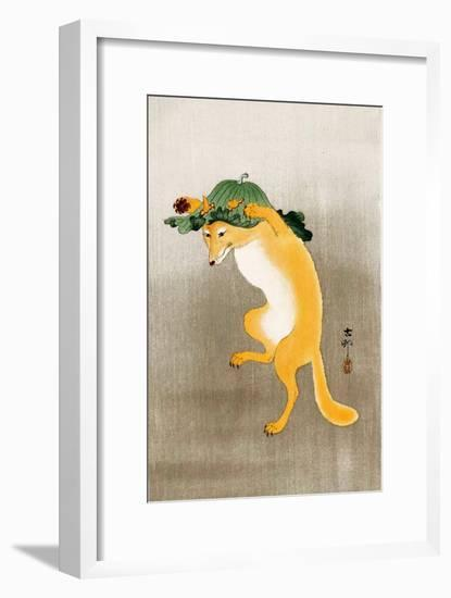 Dancing Fox with Lotus-Leaf Hat-Koson Ohara-Framed Premium Giclee Print