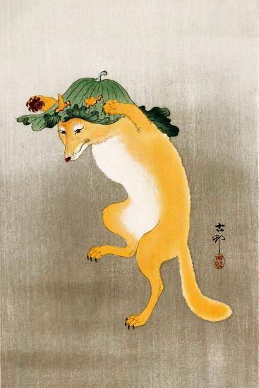 Dancing Fox with Lotus-Leaf Hat-Koson Ohara-Giclee Print