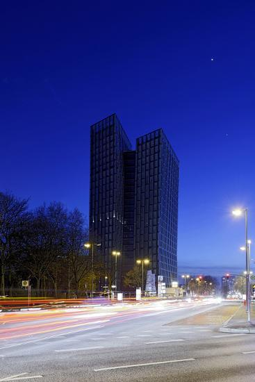 Dancing Towers, Office Building and Commercial Building at the Reeperbahn in the Evening-Axel Schmies-Photographic Print