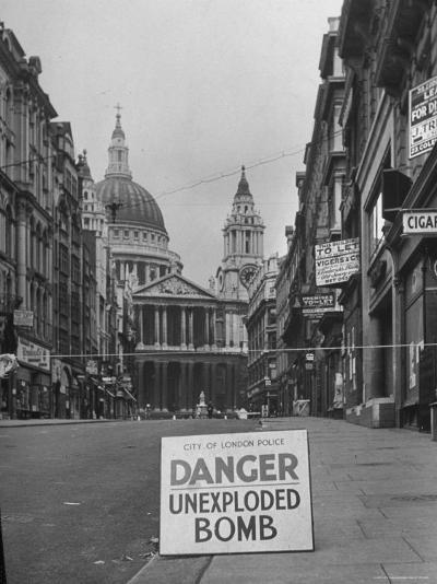 Danger Unexploded Bomb Sign at Cordoned Off Area in Front of St. Paul's Church-Hans Wild-Photographic Print
