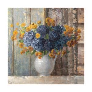 Fall Dahlia Bouquet Crop Blue by Danhui Nai