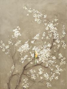 White Cherry Blossom I Neutral Crop Bird by Danhui Nai