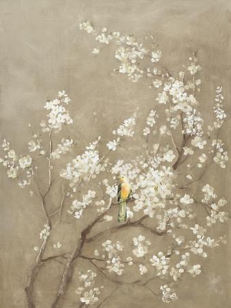 White Cherry Blossom I Neutral Crop Bird