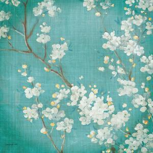 White Cherry Blossoms II on Blue Aged No Bird by Danhui Nai