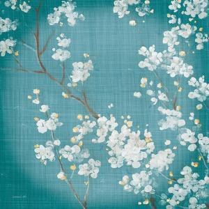 White Cherry Blossoms II on Teal Aged no Bird by Danhui Nai