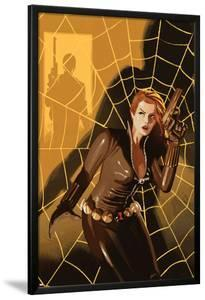 Black Widow No.5 Cover: Black Widow Standing in Front of a Web with a Gun by Daniel Acuna