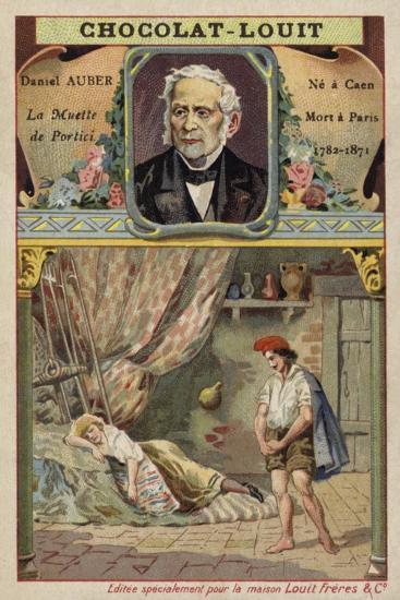 Daniel Auber, French Composer, and a Scene from His Opera La Muette De Portici--Giclee Print