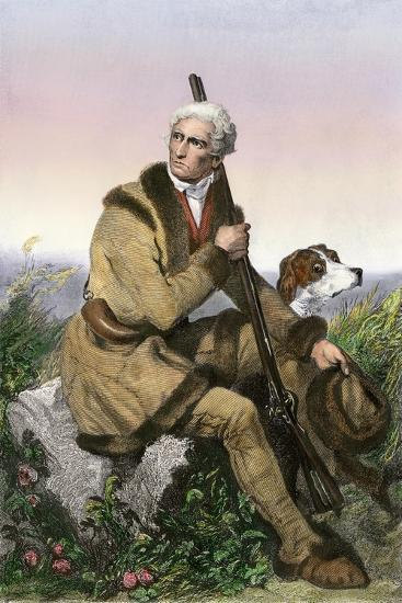Daniel Boone, Pioneer of Kentucky, with His Rifle and Dog--Giclee Print