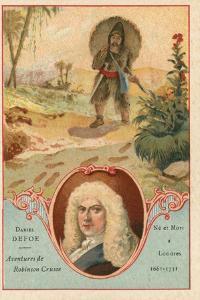 Daniel Defoe, English Novelist, and a Scene from Robinson Crusoe