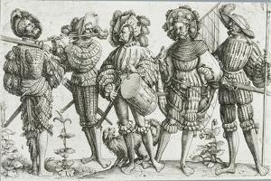Five Mercenaries in the Thirty Years' War (1518-48), 1530 by Daniel Hopfer