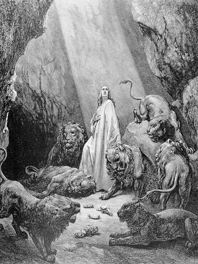 Daniel in the Den of Lions, Engraved by Antoine Alphee Piaud, C.1868-Gustave Dor?-Giclee Print