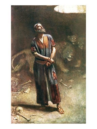 Daniel in the Lion's Den-Harold Copping-Giclee Print