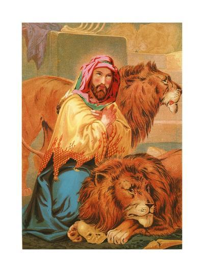 Daniel in the Lion's Den-English School-Giclee Print