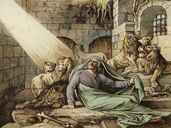 Daniel in the Lion's Den--Giclee Print