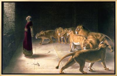 Daniel in the Lions Den, Mezzotint by J. B. Pratt, with Hand Colouring-Briton Rivi?re-Framed Canvas Print