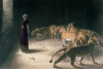 Daniel in the Lions Den, Mezzotint by J. B. Pratt, with Hand Colouring--Giclee Print