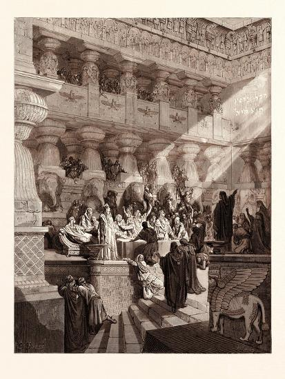 Daniel Interpreting the Writing on the Wall, by Gustave Doré, 1832 - 1883-Gustave Dore-Giclee Print