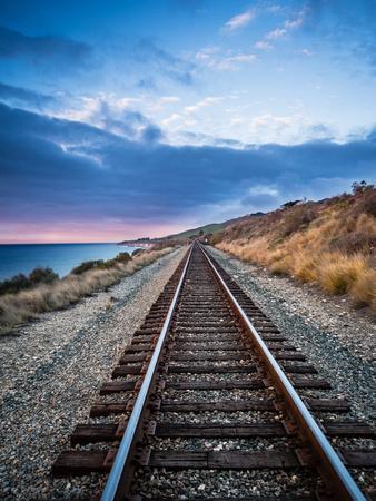 A Beautiful View Of The Train Tracks Along The Santa Barbara Coastline