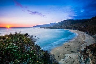 Last Light At Sand Dollar Beach Along Highway 1 In Big Sur, California