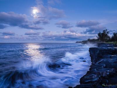 The Moon Shines Bright Along The Southeast Coast Of The Big Island, Hawaii