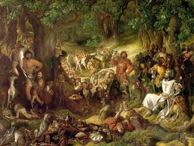 Robin Hood and His Merry Men Entertaining Richard the Lionheart in Sherwood Forest, 1839