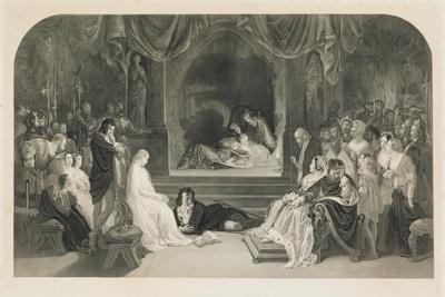The Play Scene, Act III, Scene II of Hamlet by William Shakespeare, Engraved by Charles W. Sharpe