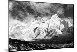 Black and White Panoramic View of Mount Everest by Daniel Prudek