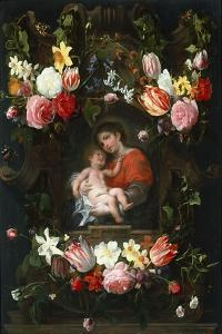 Garland of Flowers with Madonna and Child, First Third of 17th C by Daniel Seghers